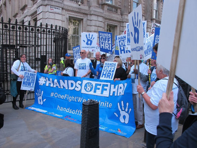 Hands Off HRI campaigners on October 10th