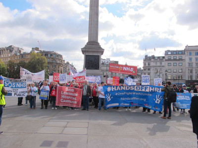 Campaigners demonstrating in Trafalgar Square October 10th