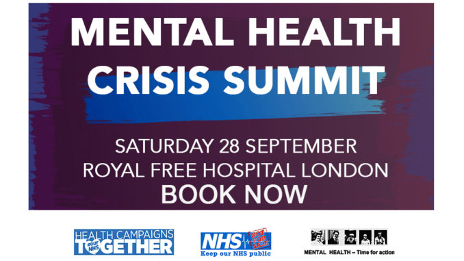 poster or flyer advertising event Mental Health Crisis Summit