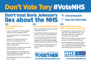 Don't vote Tory, #VoteNHS General Election 2019 leaflet