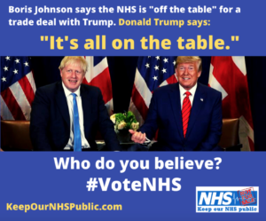 Boris Johnson Donald Trump NHS Trade Deal meme graphic