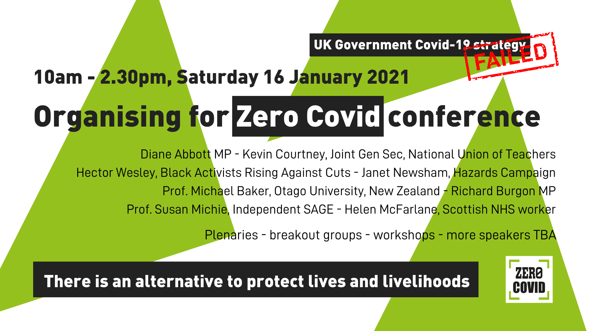 Graphic advertising an upcoming conference on achieving Zero Covid